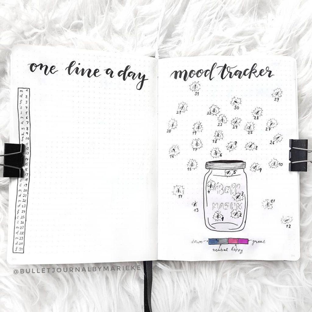 Minimalist bullet journal spreads