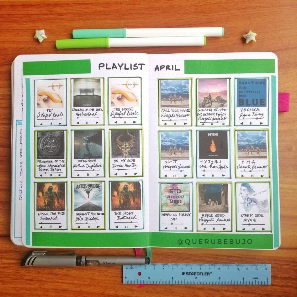 Playlist tracker bullet journal