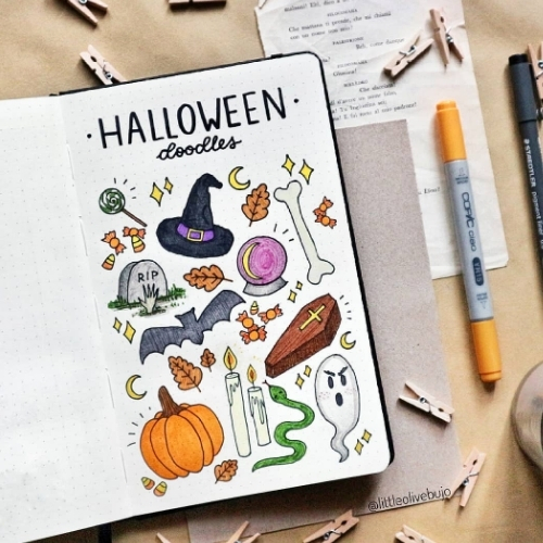 Halloween doodles step by step