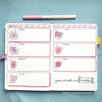 bullet journal weekly spread ideas