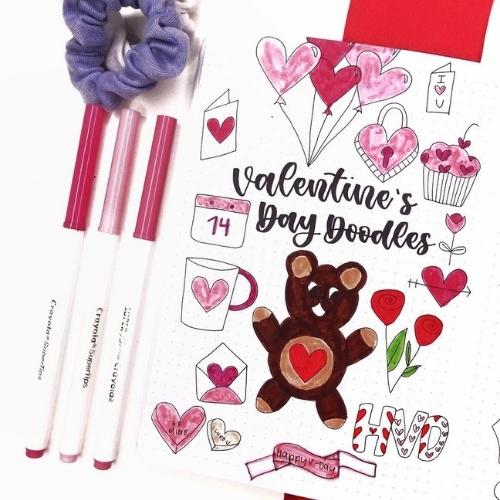 Valentine's day bullet journal