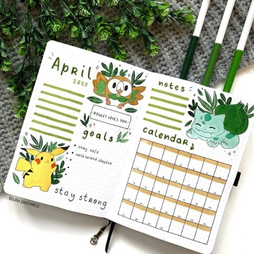 april bullet journal monthly spreads