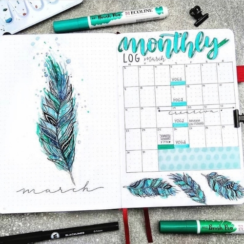 Spring Bullet Journal monthly spread