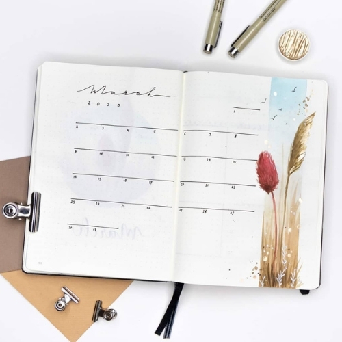 march bullet journal spread ideas
