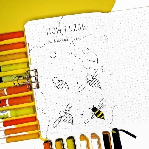 Step by step spring bullet journal doodles