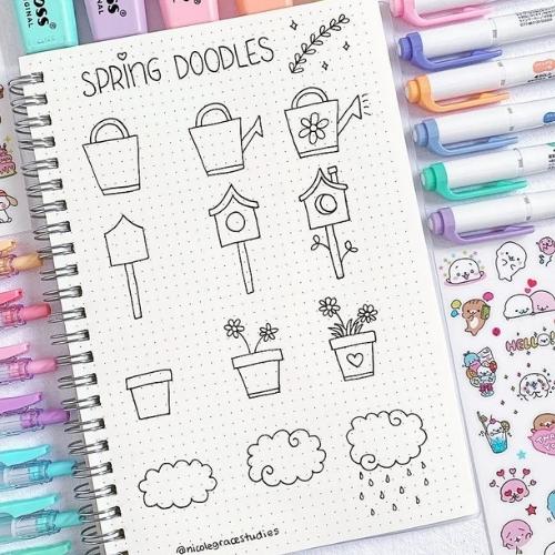 spring bullet journal doodles