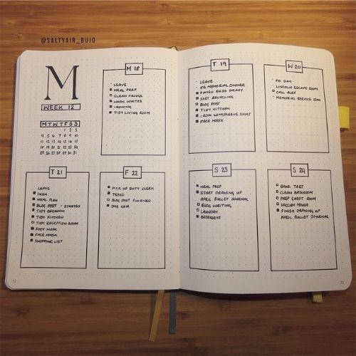 weekly bullet journal spread