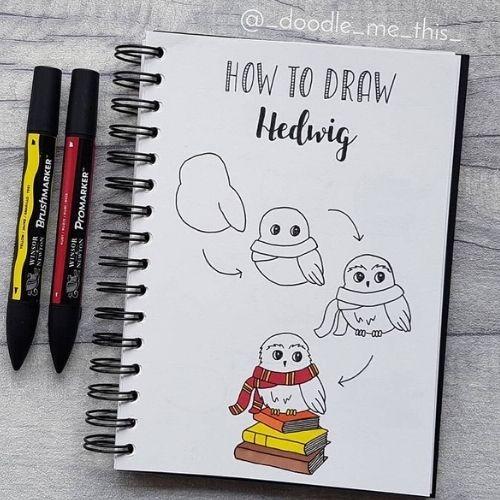 harry potter bullet journal doodles- Hedwig doodle ideas