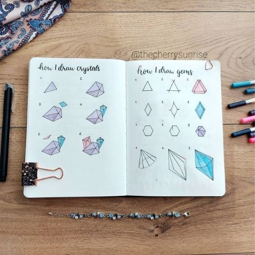 How to Draw Crystals and Gems In Bullet Journal