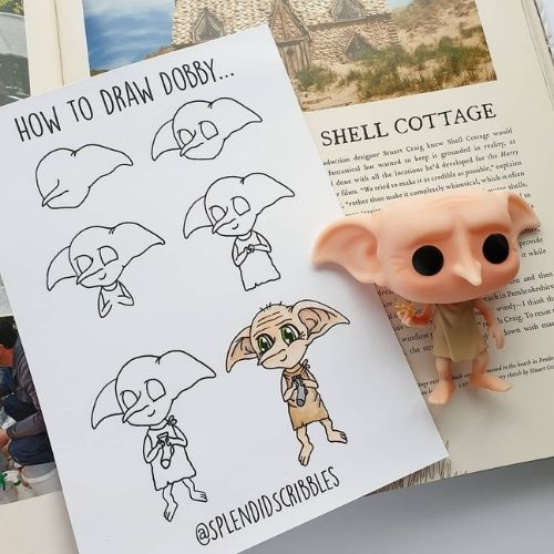How to draw dobby- easy harry potter doodles