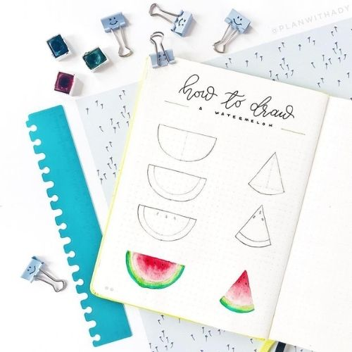 How to Draw A Watermelon - Summer Fruit Doodle