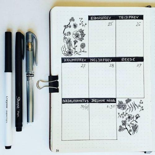 minimalist bullet journal weekly