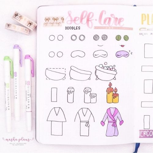 Self Care Bullet Journal - Step By Step Doodles