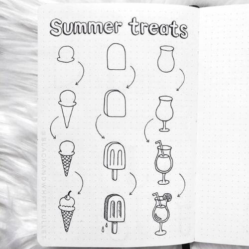 Summer Ice Cream & Juice Doodles