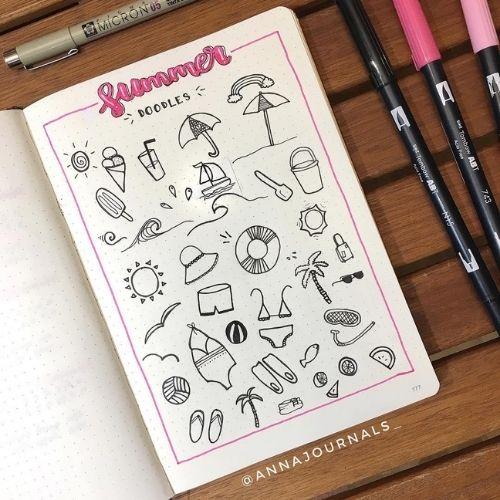 summer bullet journal doodles