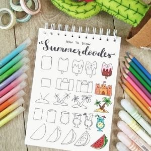 summer bullet journal doodles